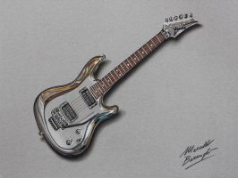 Joe Satriani's chrome guitar DRAWING by marcellobarenghi