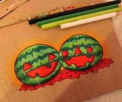 Drawlloween: Jack O' Melons by loveandasandwich