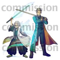 Commission - Vergil and Hitsugaya by karaii