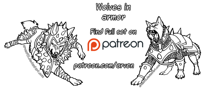 Patreon Linearts - Wolves in Armor + DLC by ARVEN92