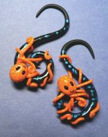 Orange Octopus Ear Plugs by BlackMagdalena