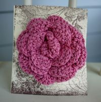 Pink crocheted rose clip by nessabutterfly