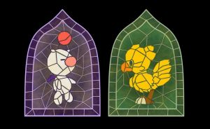 Stained Glass Moogle and Chocobo by smallrinilady