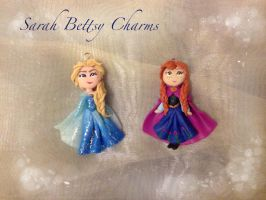 Frozen Anna and Elsa clay charms by b3ttsy