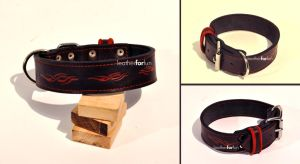 dog leather tribal flame collar by leatherforfun