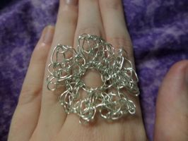 My First Wire Crochet Project: Flower Ring by maddinja