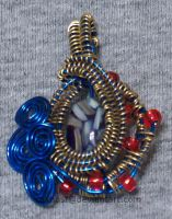 Blue and Gold Wire Wrapped Pendant by cakhost