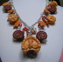 Polymer Christmas Mince pie Charm Necklace by cynamonspice