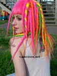 Pixie in a Pink Dread Wig by vainvixen