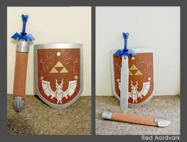 LoZ Wind Waker - Shield, Scabbard and Master Sword by WilliamWeird