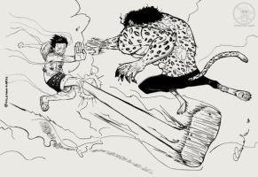 Luffy VS Lucci for Freddrummer by Goldman-Karee