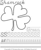 Mommysbiz | S-Shamrock-Green Preschool Worksheet by DanaHaynes