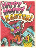 Happy Hoppy Easter card by ragzdandelion