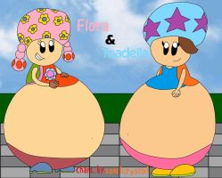Flora and Toadella -Gift- by LuigiStar445