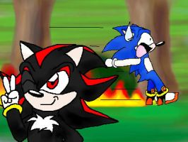 Sonic Steals Shadow's Shoes XD by ice-kitsune