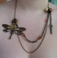 Steampunk Dragonfly Necklace by DemoraFairy