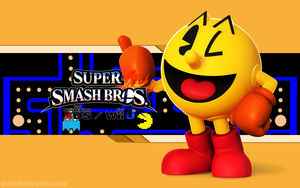 Pacman Wallpaper - Super Smash Bros. Wii U/3DS by AlexTHF