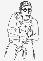 mo rocca holds a pig by valerie2776