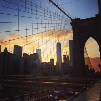 Sunset from Brooklyn Bridge by PinkLlama123