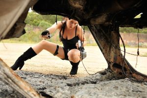 Stacey - Lara and burnt car 1 by wildplaces