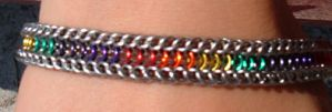 Rainbow bracelet by chainmaille