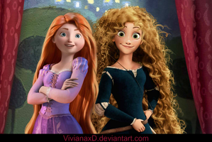 Merida and Rapunzel by Cuine