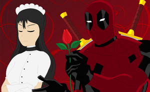 Deadpool trying to charm Scarlett by Sweetgirl333