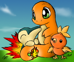 Fire Starter Pokemon Color by Quantum-Art