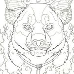 Cougar Totem Adult Coloring Page by grygon