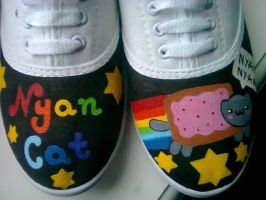 Nyan Cat painted shoes by karka17