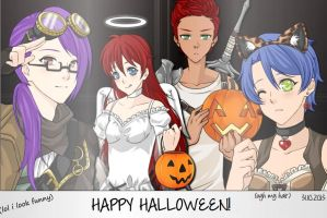 Donny, Ruby, Charisse and Raph Halloween Picture by DragonxHybrid