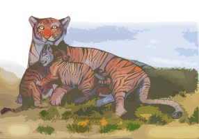 Tigeress and cubs by DancingfoxesLF