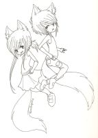 Lineart. Fox Twins. by MarshmallowCream