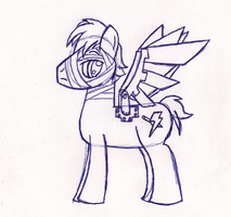 Silver Wind (Pen Sketch) by BlackNapalmPony