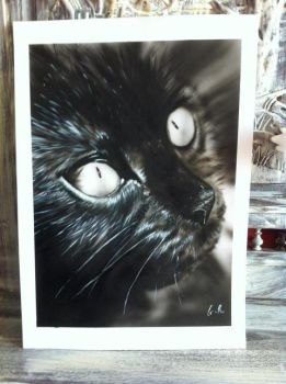 cat painted airbrush by guitchart