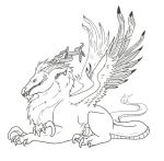 Feathered Dragon Lineart by Leafyful
