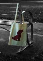 Lined Calico Bag with Puppy Applique by Clobber-Creations