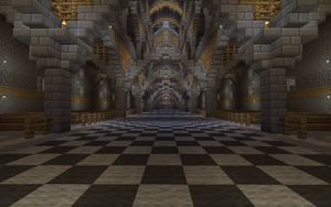 Massive Minecraft Cathedral INSIDE HALLWAY VIEW by Tugtugbug