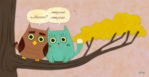 Lonely Owl Meets LoveMe Cat by kimichimidraws