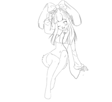 Lineart Bunny Girl by Pammella