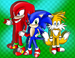 Sonic knuckles tails by teamspike1