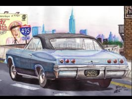 1965 Chevy Impala On Long Island Expressway. by FastLaneIllustration