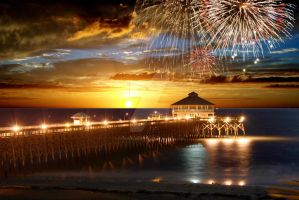 Sunset Fireworks Pier by CanonRebelPhoto