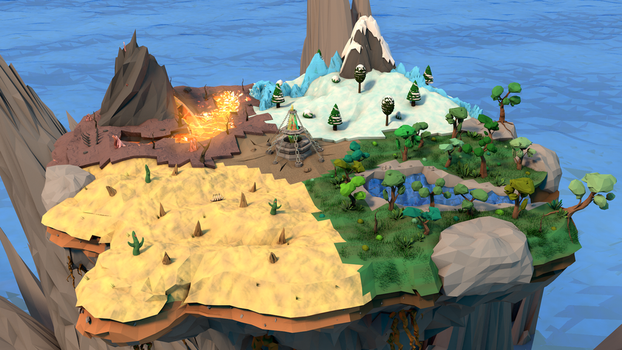 Low Poly Floating Island by Jarargon
