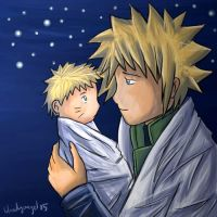 Yondaime and Baby Naruto by yun-yun