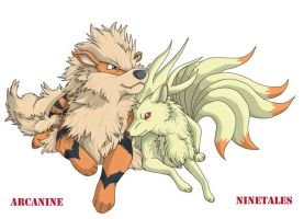 Arcanine and Ninetales by PrinzeBurnzo