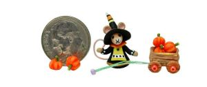 Tiny FOLK ART PUMPKIN WITCH MOUSE AND CART by WEE-OOAK-MINIATURES