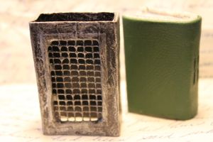 Altered matchbox cage and mini book by izibel1