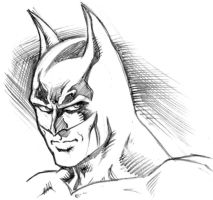 Batman head Sketch by andypriceart