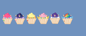 The Mane 6 as Cupcakes by MarietheDragonwolf